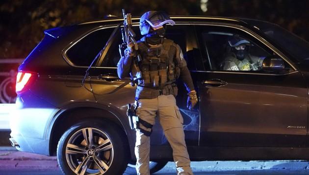 Eine Cobra-Einheit bei der Sicherung eines der Tatorte (Bild: APA/GEORG HOCHMUTH)