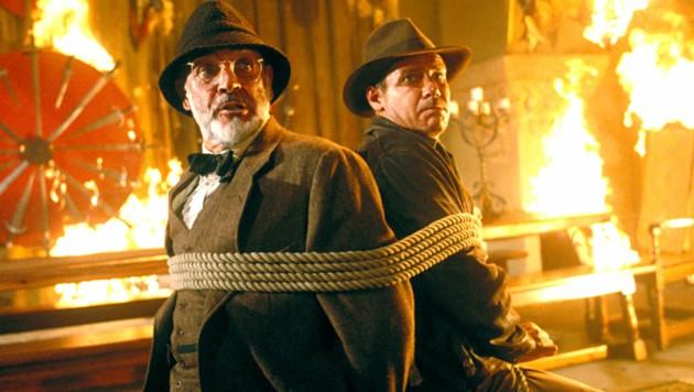 """Sean Connery und Harrison Ford spielten in den """"Indiana Jones""""-Filmen gemeinsam. (Bild: Everett Collection / picturedesk.com)"""