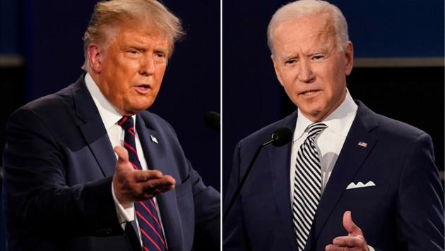 """Donald Trump vs. Joe Biden: Das Rennen um die Präsidentschaft entscheidet sich in den heiß umkämpften """"Swing States"""". (Bild: AP)"""