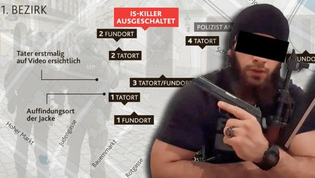 Kujtim F. bewegte sich in einem Terror-Radius von 75 Metern durch die Wiener City. (Bild: zVg, OpdenStreetMap, Krone KREATIV)