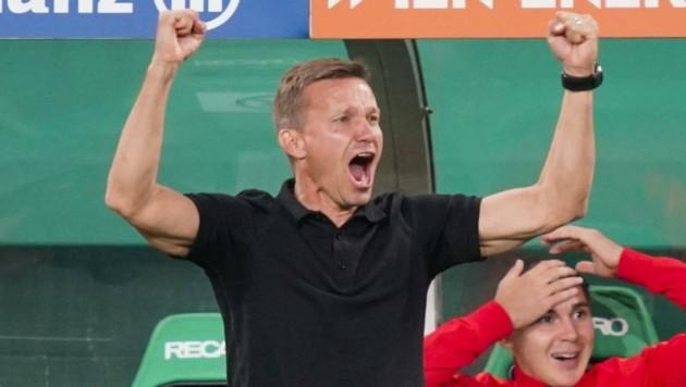 Salzburg-Trainer Jesse Marsch will auch diesmal gegen Rapid jubeln. (Bild: FOTObyHOFER/Christian Hofer)