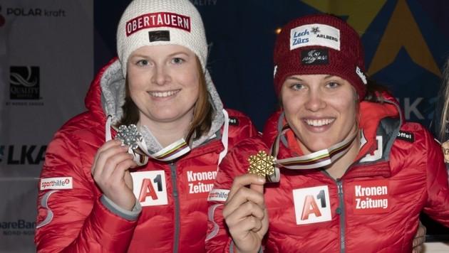 Haben auch in dieser Saison viel vor: die Lungauerin Lisa Grill (li.) und Zimmerkollegin Magdalena Egger, die heuer im März die Junioren-Ski-WM dominierten. (Bild: Kjell G Karlsen)