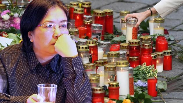 """""""Ich weiß nicht"""", schluchzt Ping Xia, """"wie unsere Töchter und ich ohne meinen Mann weiterleben sollen."""" (Bild: Andi Schiel, APA/HELMUT FOHRINGER, Krone KREATIV)"""