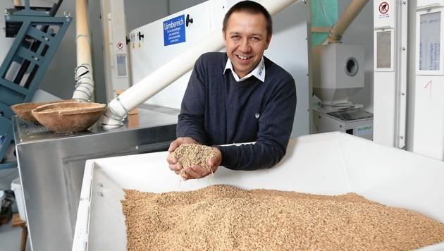 So fröhlich lacht Ewald Fröhlich, wenn er seinen herrlichen Reis produziert (Bild: Christian Jauschowetz)