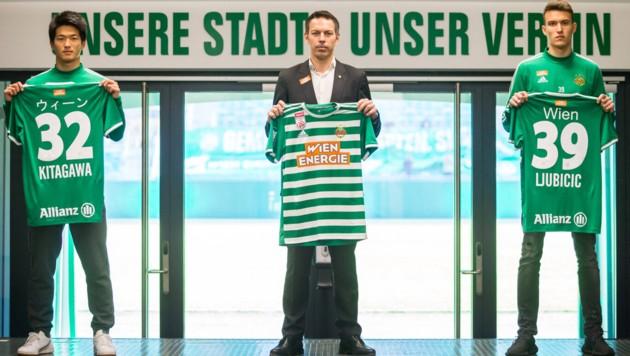 """Die Trikots der Spendenaktion tragen den Schriftzug """"Wien"""" in der jeweiligen Landessprache des Spielers am Rücken. (Bild: skrapid)"""