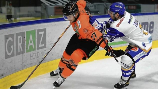 Nicht zu halten war gestern NHL-Ass Rasmussen (li.): Er traf beim 4:2 gegen Villach doppelt. (Bild: GEPA pictures)