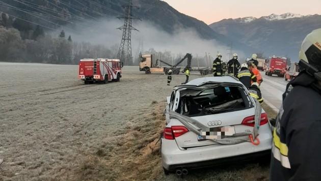 In den Unfall waren drei Autos und ein Lkw verwickelt. (Bild: FF Obervellach )