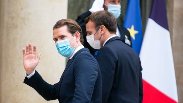 Bundeskanzler Sebastian Kurz (ÖVP) und Frankreichs Präsident Emmanuel Macron am Dienstag in Paris. (Bild: APA/GEORG HOCHMUTH)
