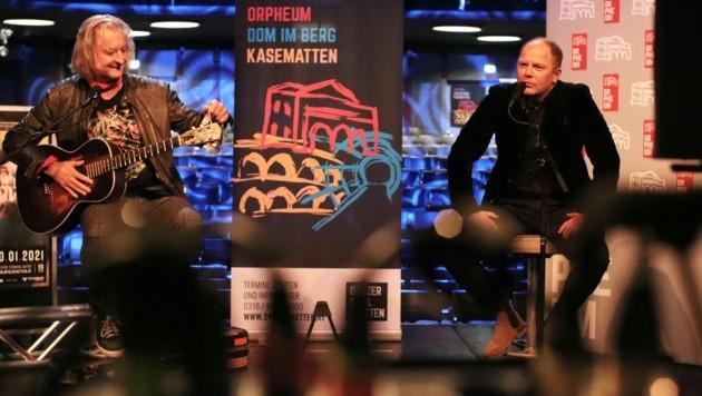 Oliver Mally und Bernhard Rinner beim Online-Pressegespräch zu den Bluestagen. (Bild: Spielstätten)