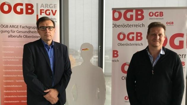 FSG-Gewerkschafter Branko Novakovic (Spitäler) und Stefan Bauer (Altenpflege) (Bild: ÖGB)