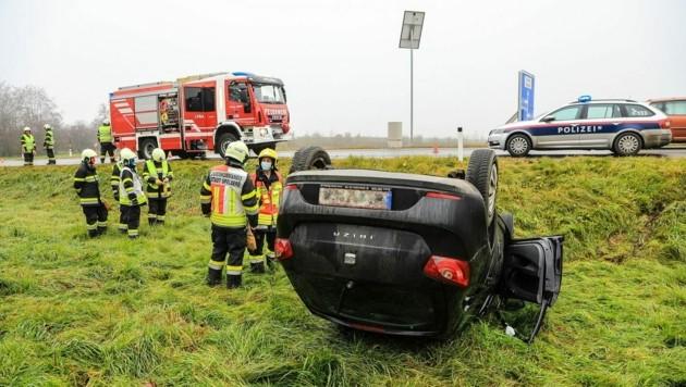 Autounfall in Spielberg (Bild: Thomas Zeiler)