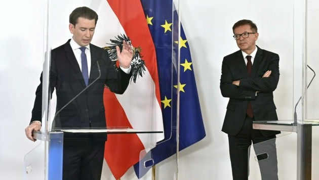Bundeskanzler Sebastian Kurz (ÖVP) und Gesundheitsminister Rudolf Anschober (Grüne)