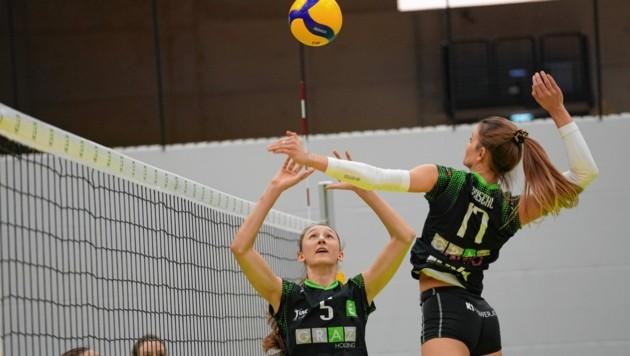 Die Volleyball-Damen des UVC Graz smashten sich zum Derbysieg. (Bild: Sepp Pail)