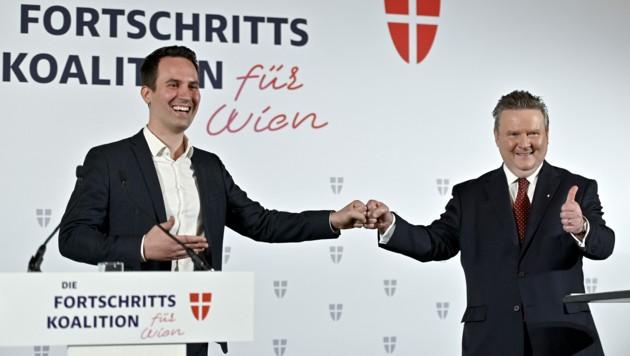 Am 24. November 2020 wurde die Partnerschaft zwischen Ludwig und Wiederkehr (li.) offiziell eingetragen. (Bild: APA/HERBERT NEUBAUER)