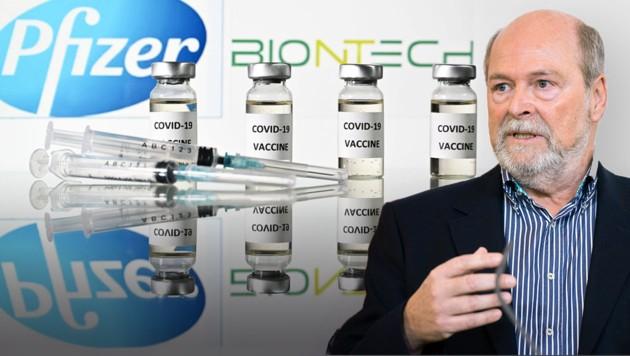 """Der Virologe Herwig Kollaritsch sieht in den Ergebnissen bei Pfizer/Biontech einen """"Meilenstein"""". (Bild: APA/GEORG HOCHMUTH, AFP/JUSTIN TALLIS, Krone KREATIV)"""