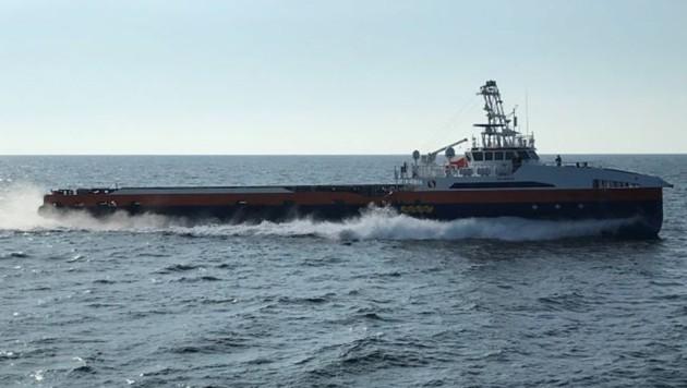"""Im Rahmen ihres """"Ghost Fleet""""-Projekts hat die US-Navy zwei rund 60 Meter lange Transportschiffe für den unbemannten Betrieb umgebaut. (Bild: US Navy)"""