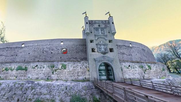 """Mit einem Mausklick gelangt man auf der Seite """"hall360.tirol"""" von der aktuellen Ansicht dieses Teiles der ehemaligen Salzstadt zur historischen Rekonstruktion des Milsertores. (Bild: Klaus Karnutsch)"""