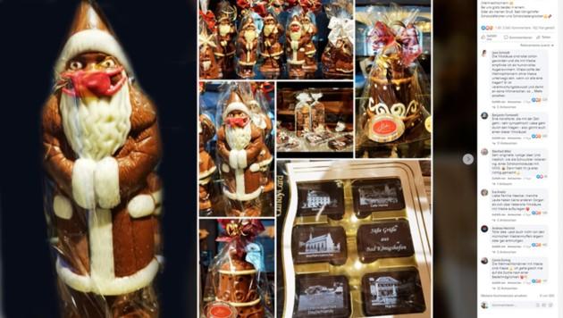 Ein Schokoladen-Nikolaus mit Mundschutz - die Idee einer nordbayrischen Konditorei hat für Anfeindungen in sozialen Netzwerken gesorgt. (Bild: Facebook.com/Cafe - Konditorei Heintz,Krone Kreativ)