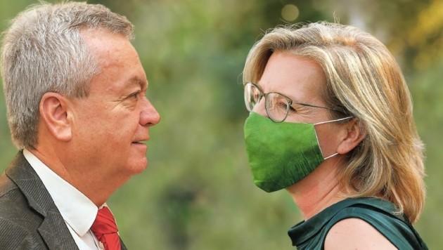Anton Lang und Leonore Gewessler (Fotomontage) (Bild: Peter Tomschi, Christian Jauschowetz)
