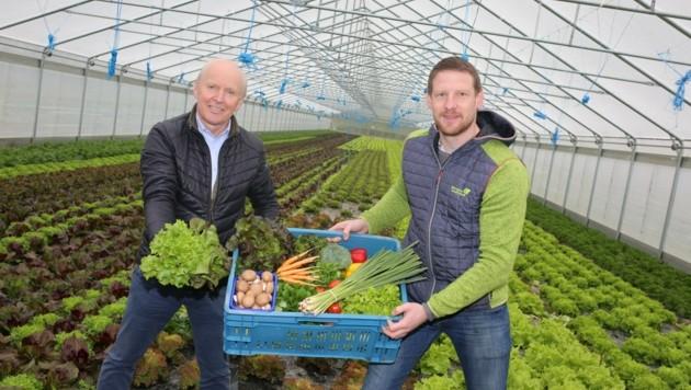 Arno und Rene Robitsch mit einer Gemüsekiste, wie sie in ganz Kärnten zugestellt werden. (Bild: Hronek Eveline)