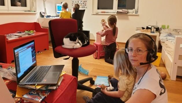 Ulrike Morrenth muss sich im Homeoffice um ihre vier Kinder kümmern und mit ihnen gemeinsam für die Schule lernen. (Bild: Zvg)