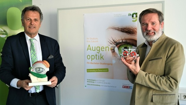 Fachhochschul-Rektor Walter Draxl (li.) und Studiengangsleiter Gustav Pöltner