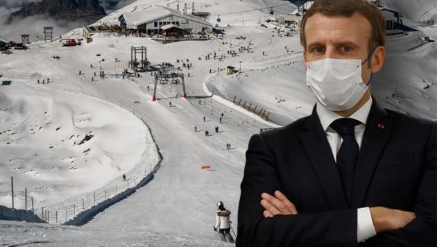 Emmanuel Macron stellt klar: Kein Skifahren in Frankreich vor Jänner. (Bild: APA, AFP/Jeff Pachoud)