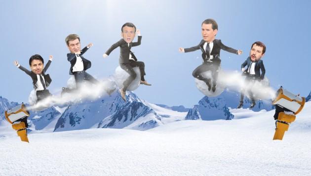 Die Piste ein Schlachtfeld - und aus den Kanonen wird jede Menge Pulver verschossen: Europäische Politiker streiten sich um ein Skiverbot. Links Befürworter des Verbots: Conte, Macron und Söder (v. li.), rechts die Gegner: Kurz und Salvini (v. li.) (Bild: Stock.adobe.com, EXPA/Florian Schroetter, AFP, Daniel Karmann, Henri Szwarc, Giuseppe Lami. Grafik: Krone Kreativ)