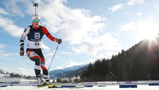 In Kontiolahti: Katharina Innerhofer mit den Biathlon-Tross. (Bild: GEPA pictures/ Andreas Pranter)