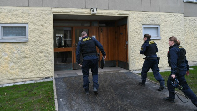 Die Polizei auf dem Weg zur Spurensicherung in der Wohnung (Bild: APA/AFP/Jonathan NACKSTRAND)