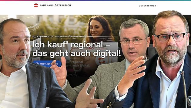 Die Opposition reagierte mit viel Häme auf die neue Online-Plattform. (Bild: www.kaufhaus-oesterreich.at, APA/Herbert Pfarrhofer, Helmut Fohringer, Herbert P. Oczeret, Krone KREATIV)