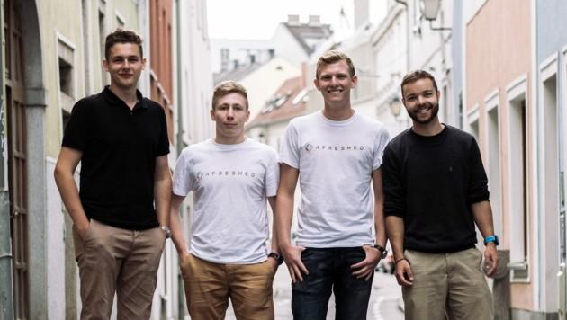 Die afreshed-Gründer Forsthuber, Welzenbach und Bocksrucker mit Mitarbeiter Simon Scheutz (v. l.).