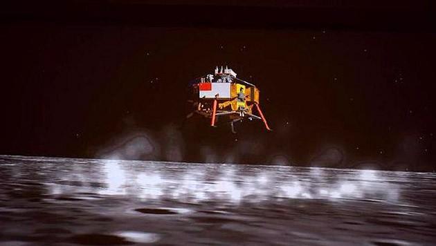 """Künstlerische Darstellung der Landung von """"Chang'e 5"""" auf dem Mond (Bild: CSNA)"""