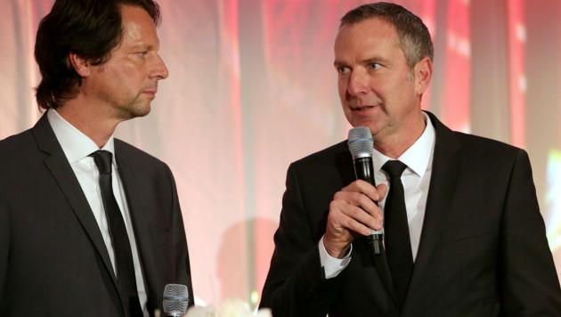 Die Stimmung zwischen Peter Schöttel (links) und Dominik Thalhammer war schon mal besser. (Bild: GEPA)