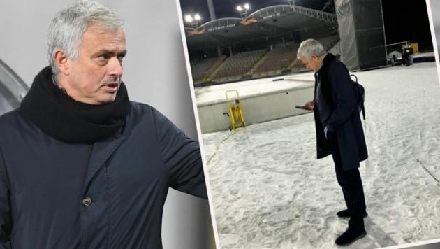 Jose Mourinho auf der Linzer Gugl (Bild: AP, Instagram.com/Jose Mourinho)