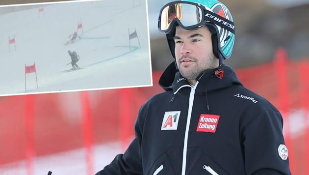 Vincent Kriechmayr und dessen Schrecksekunde (Bild: GEPA, twitter.com/Top_Ski_News)