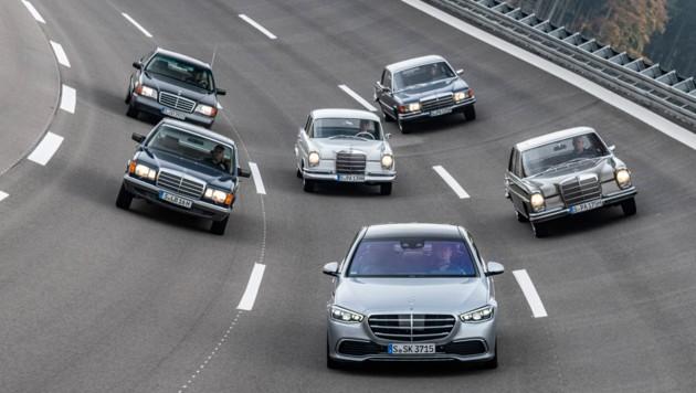 Die neue Mercedes-S-Klasse und ihre Vorfahren (Bild: Daimler)