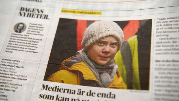 """Greta Thunberg war für die Klimawandel-Ausgabe der schwedischen Zeitung """"Dagens Nyheter"""" Gast-Chefredakteurin. (Bild: AP)"""