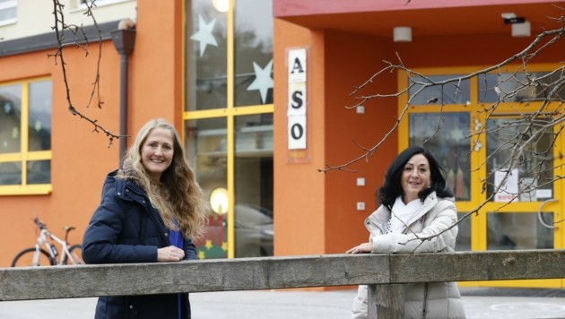 Lehrerin Sylvia Sommerauer-Pötzelsberger (li.) und Direktorin Gabriele Haider von der Sonderschule in Thalgau. (Bild: Tschepp Markus)