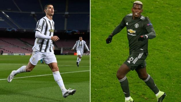 Cristiano Ronaldo (li.) und Paul Pogba: Kommt's zum Tausch Geschäft zwischen Juventus Turin und Manchester United (Bild: APA/AFP/Josep LAGO, AP)