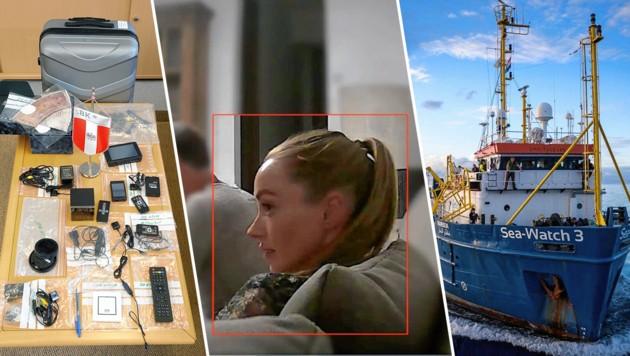 Die noch untergetauchte falsche russische Oligarchen-Nichte (Mi.) auf dem Sofa mit Strache in der verwanzten (li.) Ibiza-Villa: Eine Spur führt auch zur Seenotrettungs-Organisaton Sea Watch (re.). (Bild: sea-watch.org, BK, Reinhard Holl)