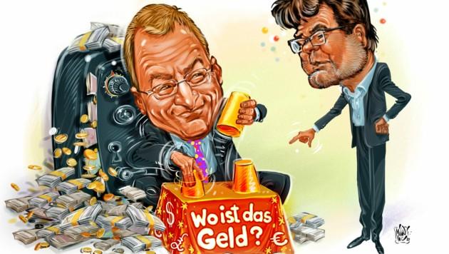 Landesfinanzreferent Thomas Stelzer, ÖVP, lässt den Grün-Politiker Gottfried Hirz raten, wofür genau er das Geld der Steuerzahler ausgibt.
