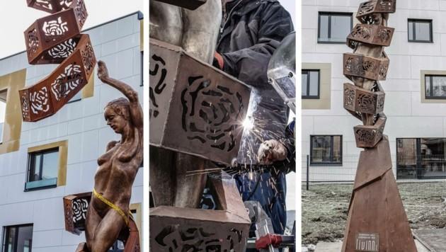Voneinander getrennt wurde die Bronzestatue der Göttin Sophia und der sie ummantelnde Cocoon aus Edelstahl angeliefert. Um dann aufwendig als Einheit montiert zu werden. (Bild: Berger Hubert)