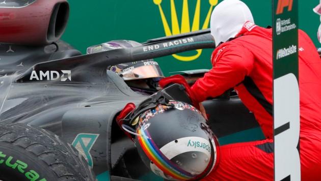 Beim Grand Prix in der Türkei fuhr Sebastian Vettel mit dem Regenbogen-Helm. (Bild: AFP)
