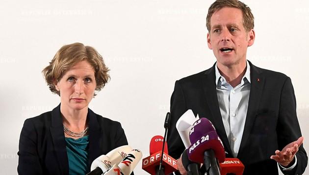 Die beiden Fraktionsführer im Ibiza-U-Ausschuss, Stefanie Krisper (NEOS) und Jan Krainer (SPÖ) (Bild: APA/HELMUT FOHRINGER)