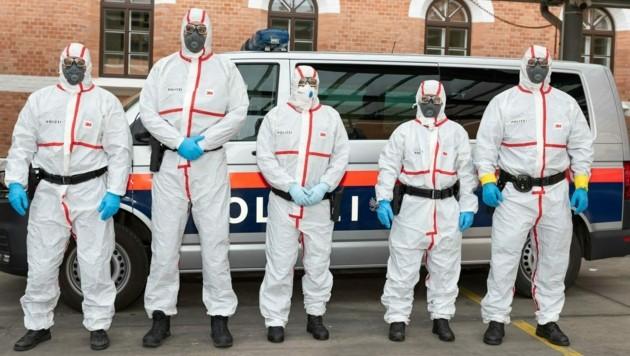 Ein Corona-Kompetenzteam der Wiener Polizei (Bild: LPD WIEN/BERNHARD ELBE)