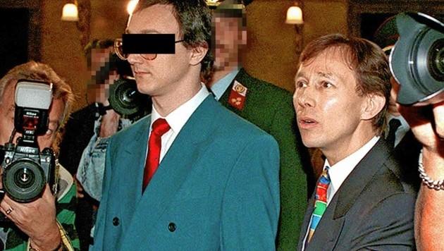 Der Ingenieur als Briefbomben-Angeklagter mit seinem damaligen und jetzt auch wieder aktuellen Top-Anwalt Rudi Mayer