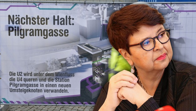 Bei den Kostenschätzungen zum U-Bahn-Ausbau lag Ex-Stadträtin Renate Brauner (SPÖ) wieder einmal kräftig daneben, wie ein Insider berichtet. (Bild: APA/HERBERT NEUBAUER, Peter Tomschi, Krone KREATIV)