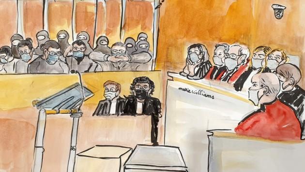 Eine Gerichtszeichnung von der Urteilsverkündung (Bild: APA/AFP/Marie WILLIAMS)