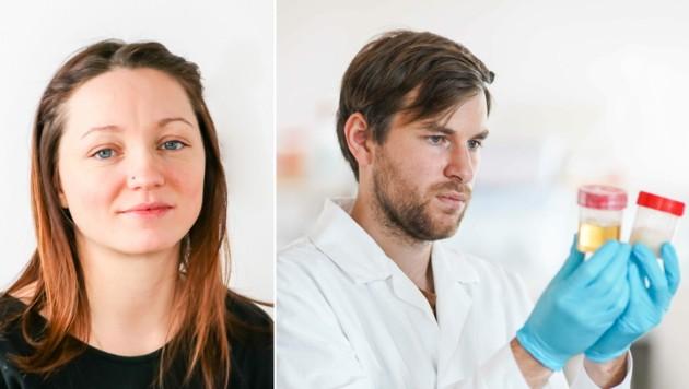 30 Mitarbeiter - hier Florian Hartmann und Melanie Baumgartner - gehören in Linz zum Team von Kaltenbrunner. (Bild: LIT Soft Materials Lab, Markus Wenzel)